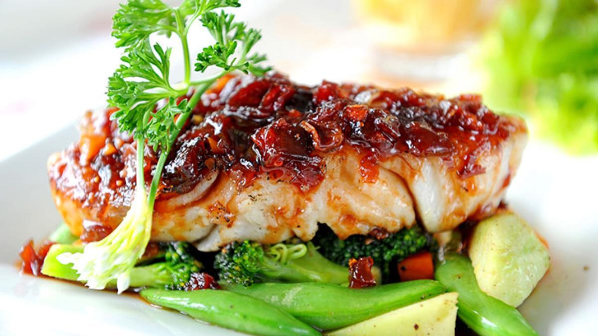fish steak vegetables