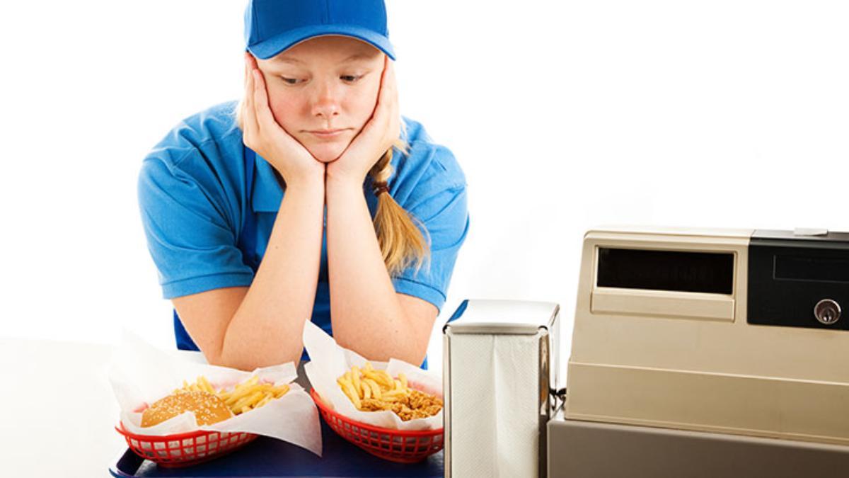 sad teen food server