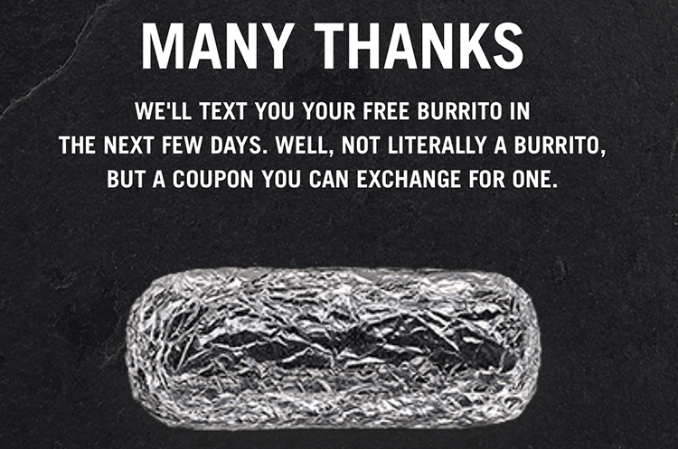 chipotle raincheck