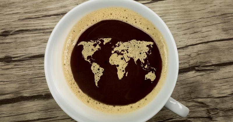 world global coffee cup