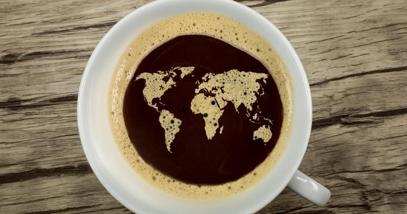 world global coffee cup