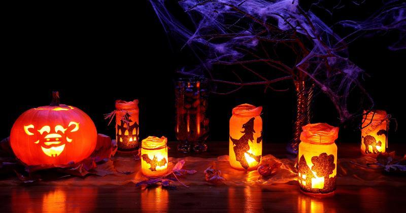 halloween lanterns pumpkin spider webs