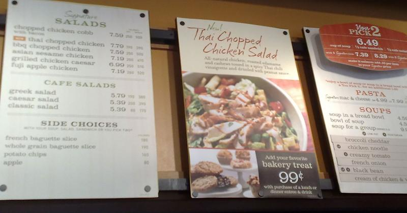 panera menu calories