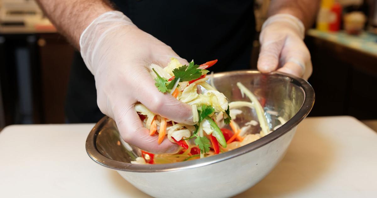 food safety gloves salad