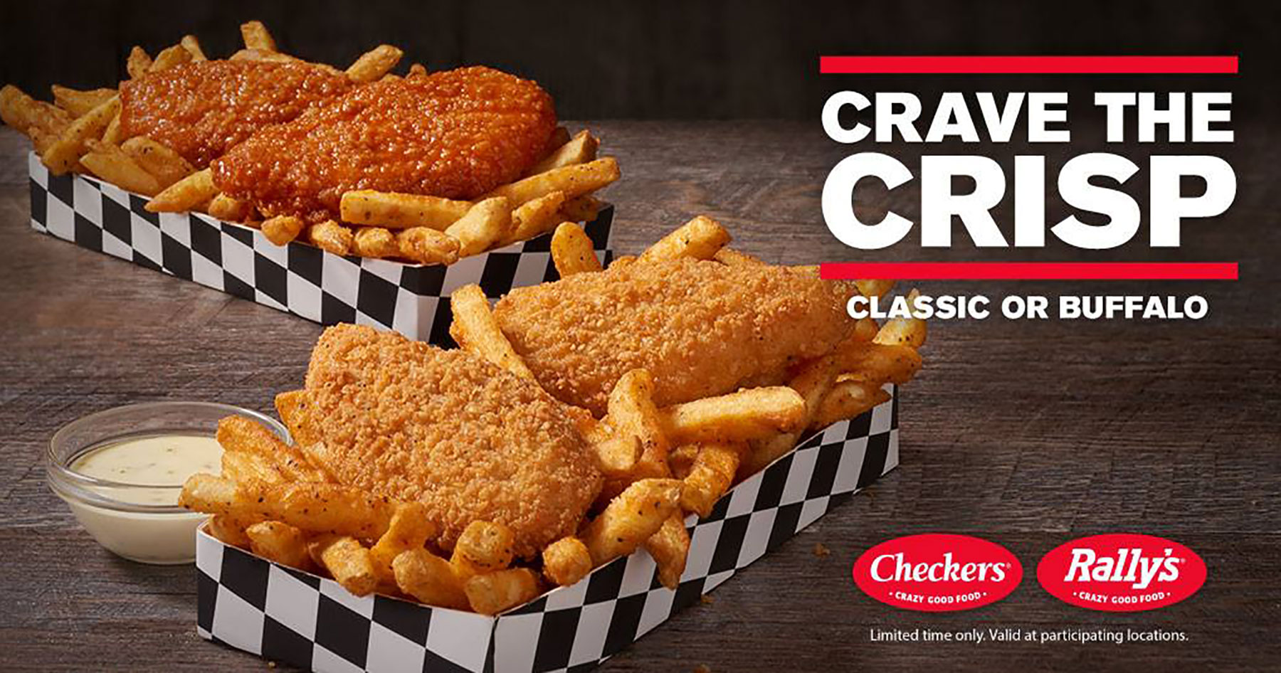 checkers extra crispy chicken strips fries box