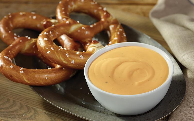 beer cheese with pretzel