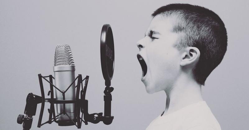 boy microphone yelling