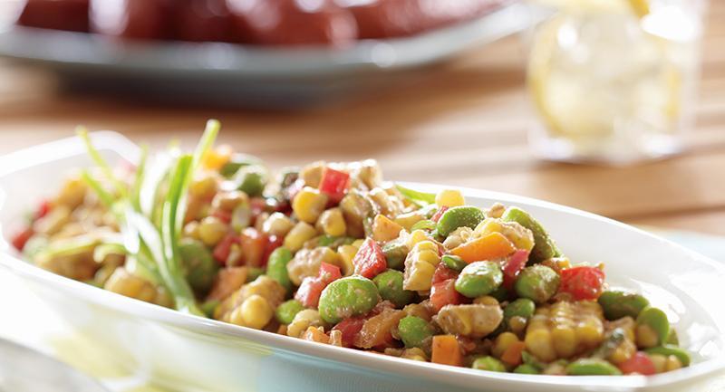 Summer Corn and Edamame Salad with Walnut Miso Dressing