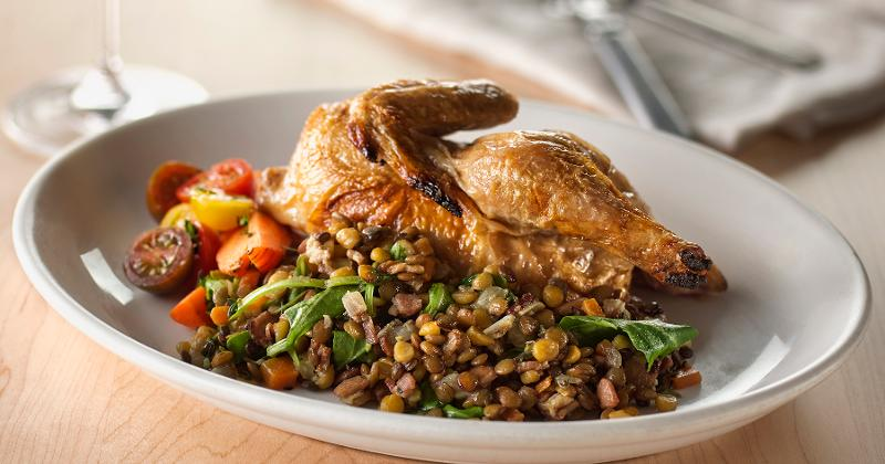 Braised Lentil Pilaf with Bacon, Arugula and Autumn Herbs