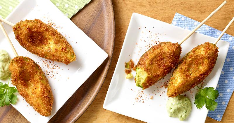 Corn Dogs with Avocado Ranch Dressing