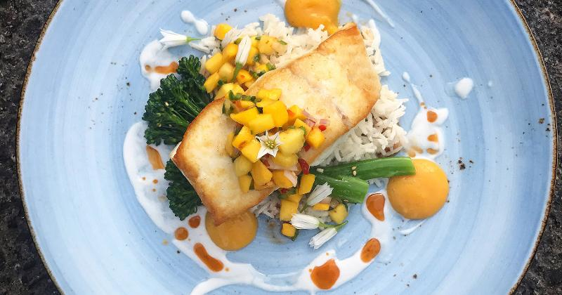 Pan-Seared Halibut with Mango Salsa and Coconut Rice