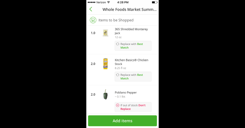 Instacart items shopped