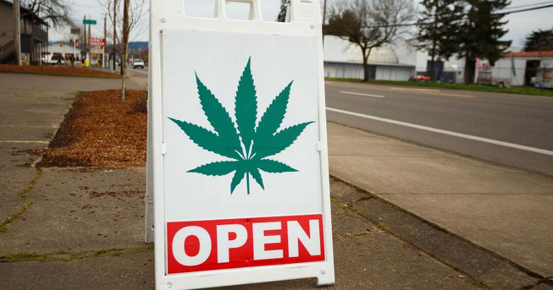 weed open sign