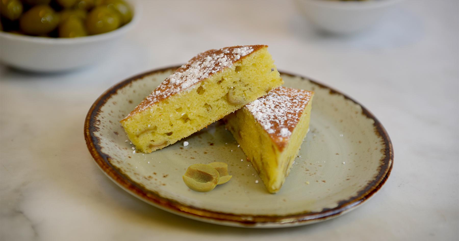 lemonc cake with manzanilla olives