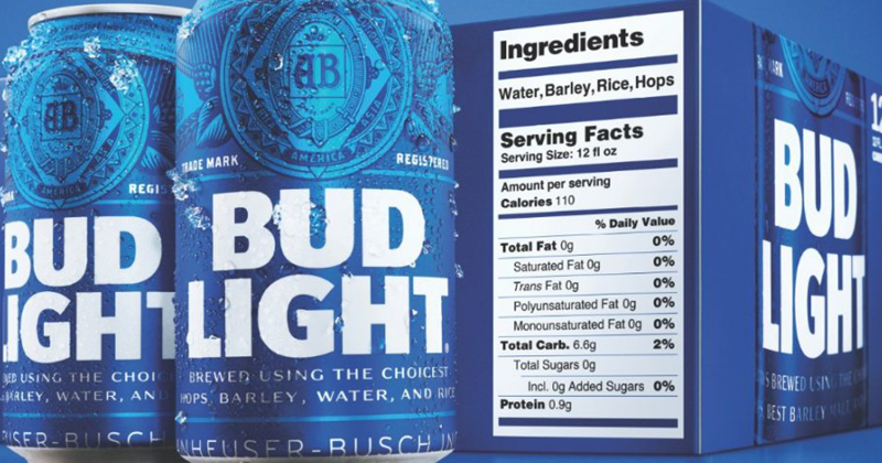 Bud Light Will Become First Beer to Display Ingredients List