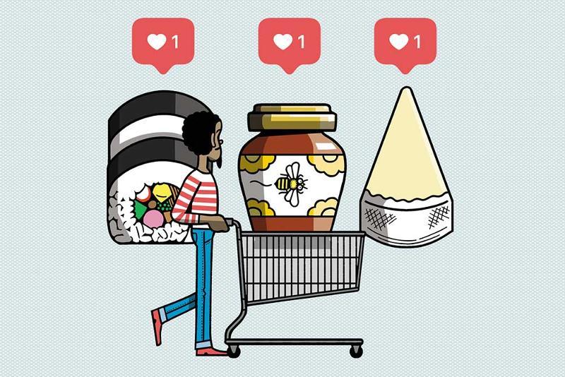 Shopping cart hearts