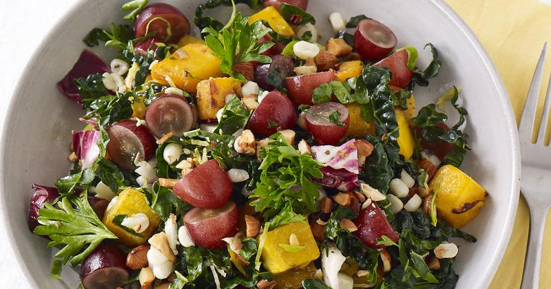 Tuscan Kale and Butternut Squash Salad with Brussels Sprouts and Grapes