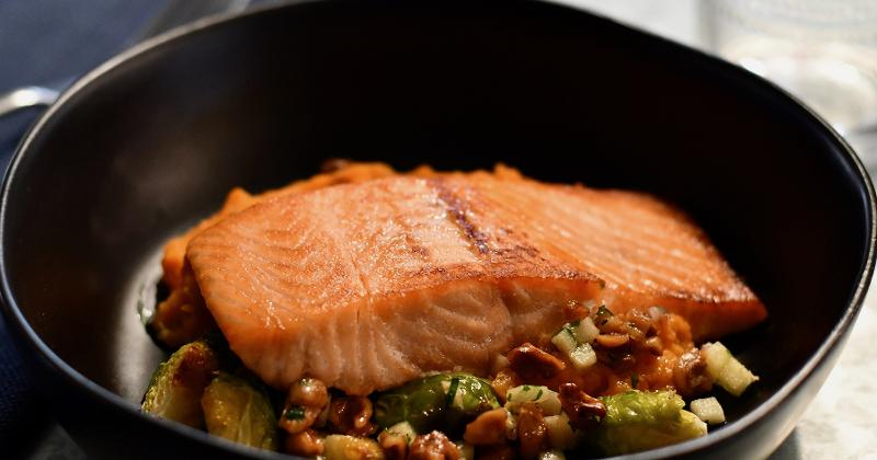 Salmon with Roasted Sweet Potatoes, Brussel Sprouts and Toasted Walnut and Apple Salsa
