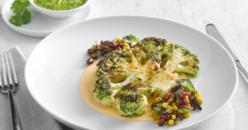 Grilled Cauliflower Steak with Pesto