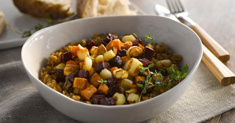 Buddha Bowl with Roasted Root Vegetables and Spelt