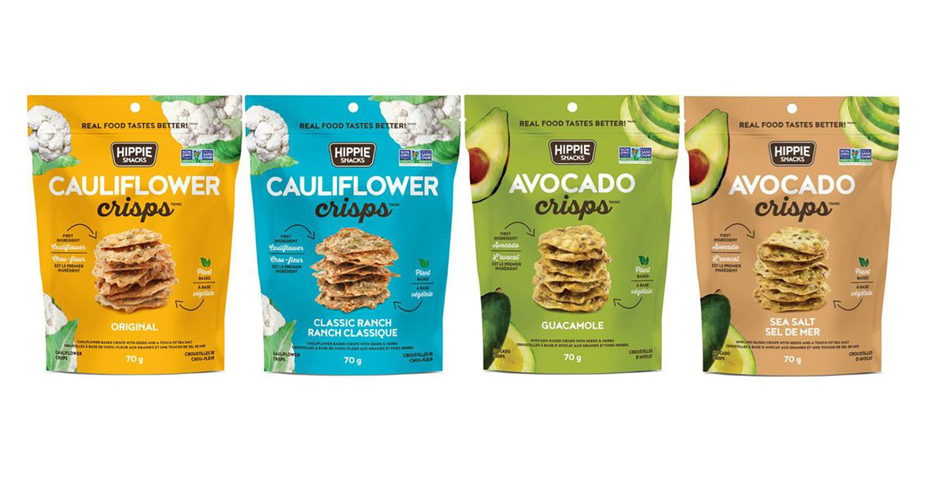 hippie snacks avocado and cauliflower crisps