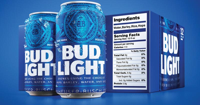 bud light ingredient label