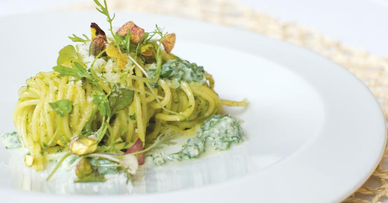 Spaghetti with Pistachio Pesto and Mint Ricotta