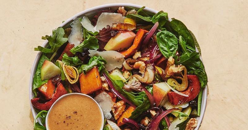 sweet green winter maple squash salad