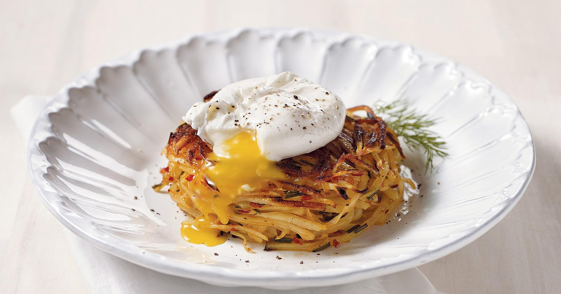 Potato Pancake with Neonata and Poached Egg