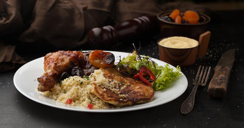Couscous with Chicken, Vegetables & Caramelized Onions