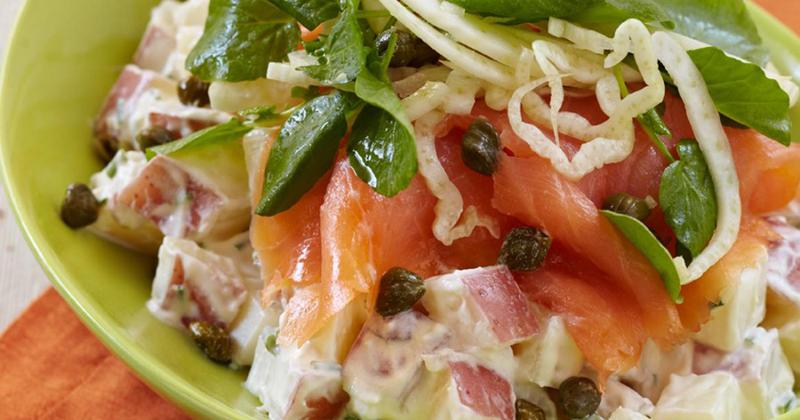 Creme Fraiche Potato Salad With Smoked Salmon, Fennel, Capers and Watercress