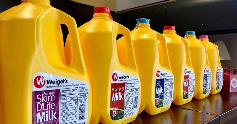 Weigel's milk jugs