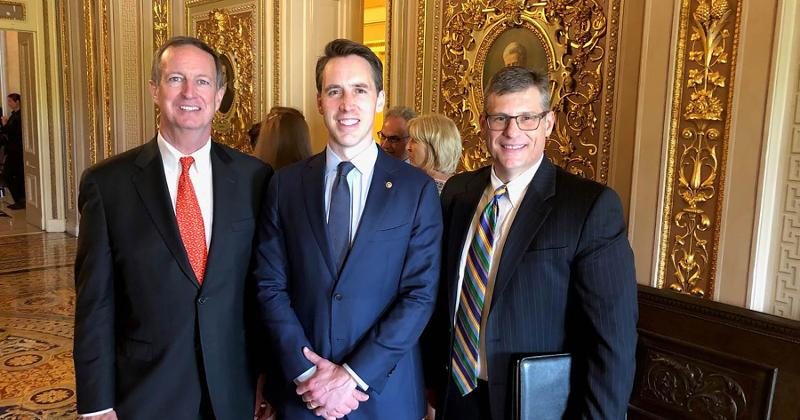 Photo: Todd Schnuck, president and CEO of Schnuck Markets, and Jed Penney, associate general counsel for compliance, regulatory affairs and government relations for Schnuck Markets, meet Sen. Josh Hawley (R-Missouri).