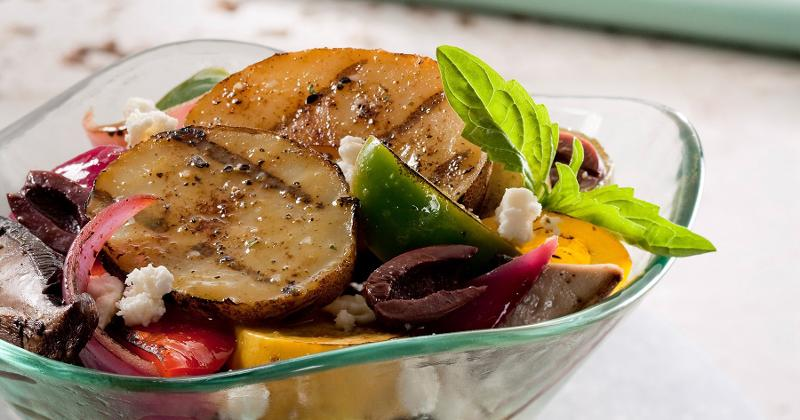 Mediterranean Grilled Herbed Potato Salad With Grilled Vegetables