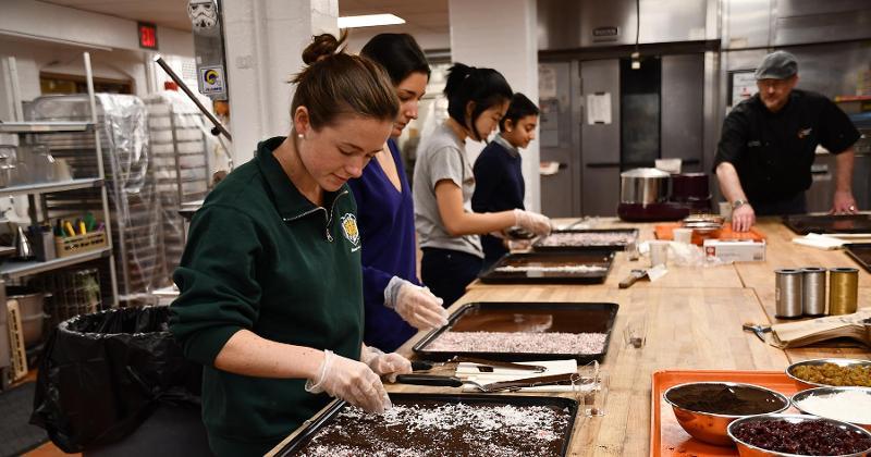 Kitchen staff cooking