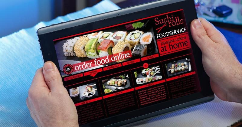 catering website on a tablet