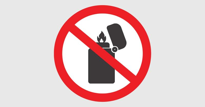 no lighters sign