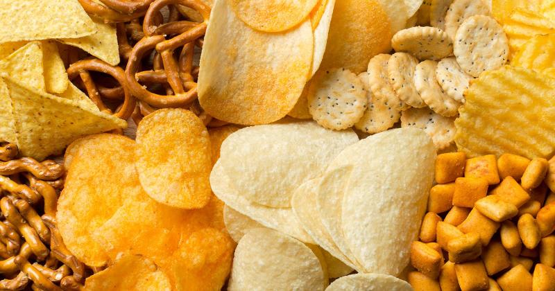 A pile of salty snacks