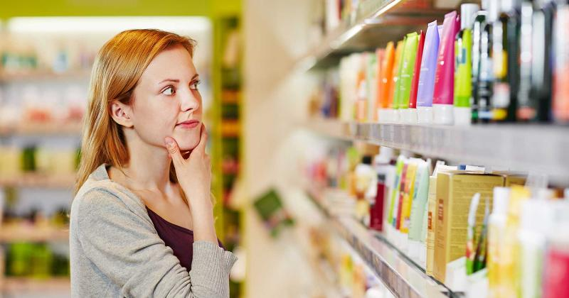 woman shopping products