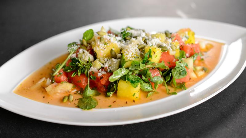 Watermelon Salad With Pickled Rind, Poblanos and Pepitas