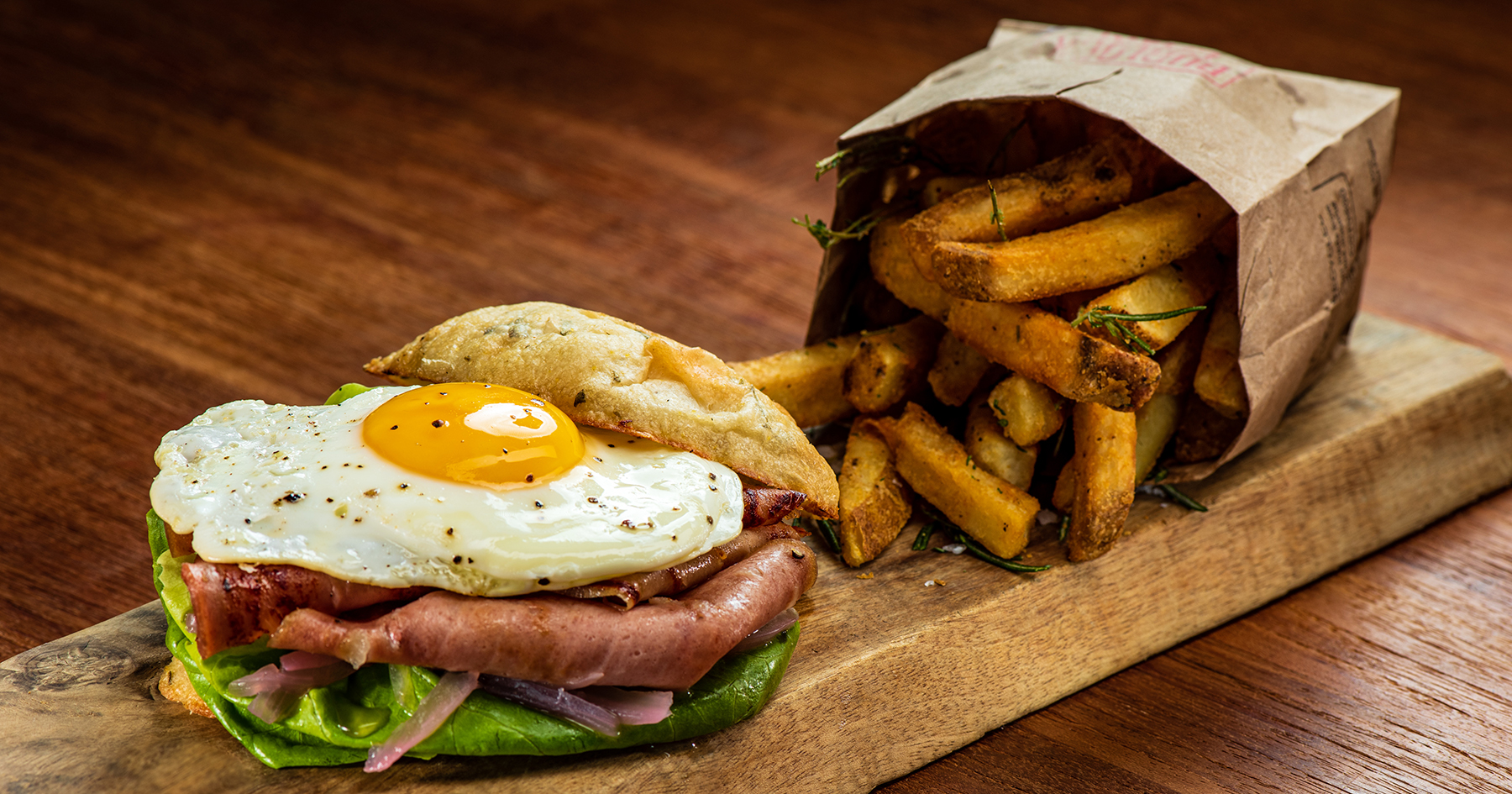 fried mortadella with egg