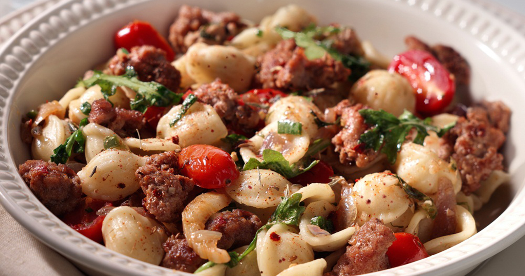 Orechiette Pasta with Calabrian Spiced Turkey Sausage