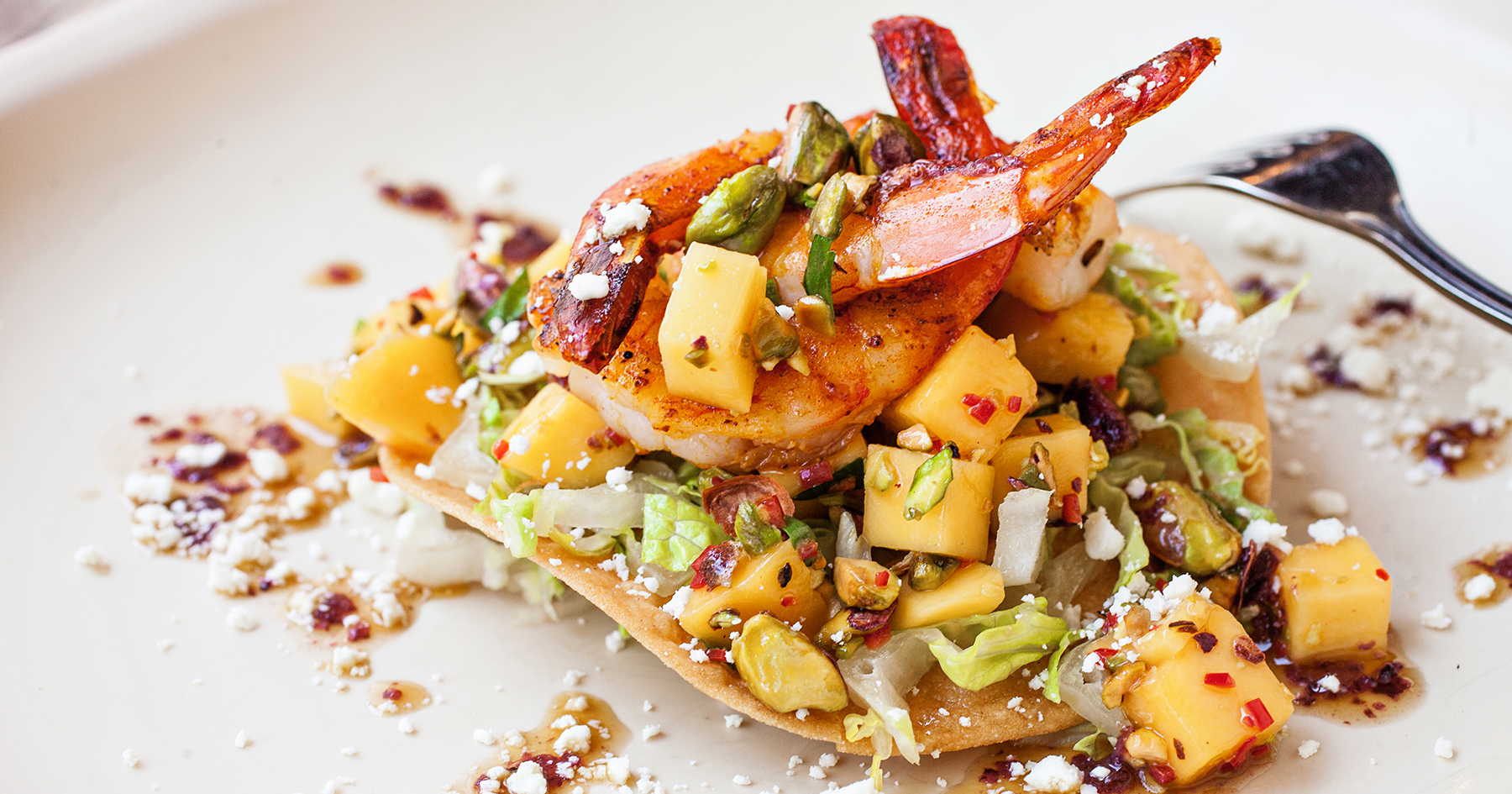 Lowcountry Shrimp Tostadas with Mango-Pistachio Salsa