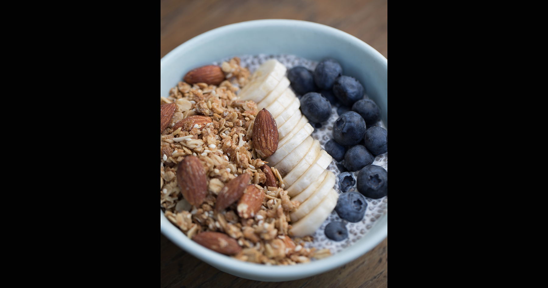 Chia Seed Pudding with Granola, Blueberries and Banana