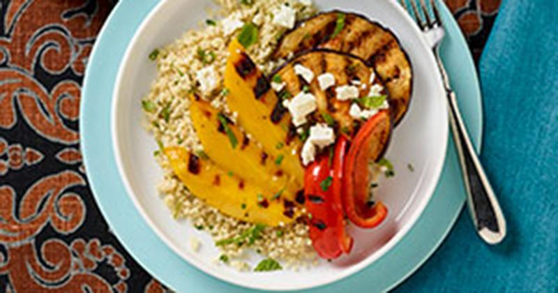 Harissa Spiced Grilled Eggplant & Quinoa Salad with Grilled Mango