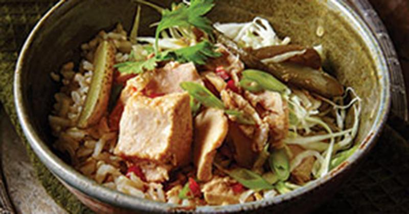 Thai Rice Bowl with Sweet Pickles and Chili-Lime Dressing