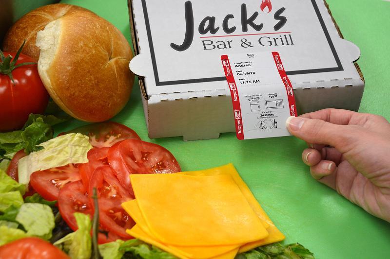 Tamper Seal label on Jack's Bar & Grill box