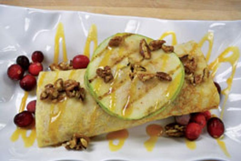 Grilled Apple & Cranberry Crepe With Cinnamon Cream and Honey Candied Pecans