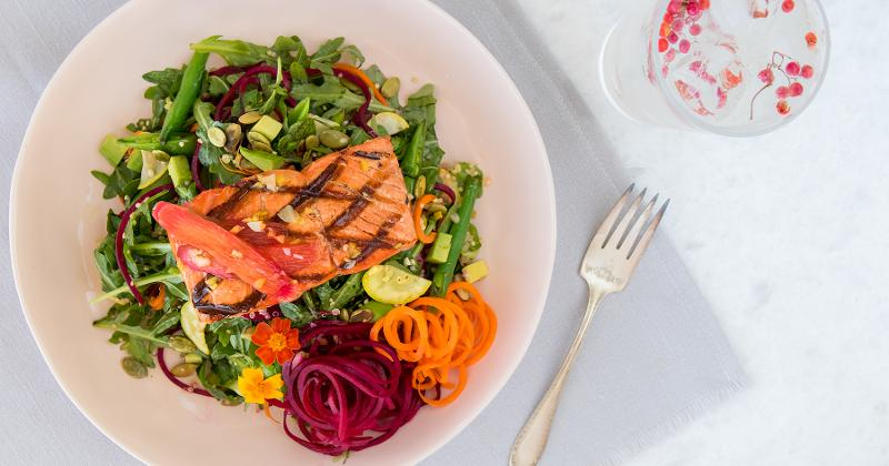 Salmon with rhubarb ginger sauce and spiralized veggies