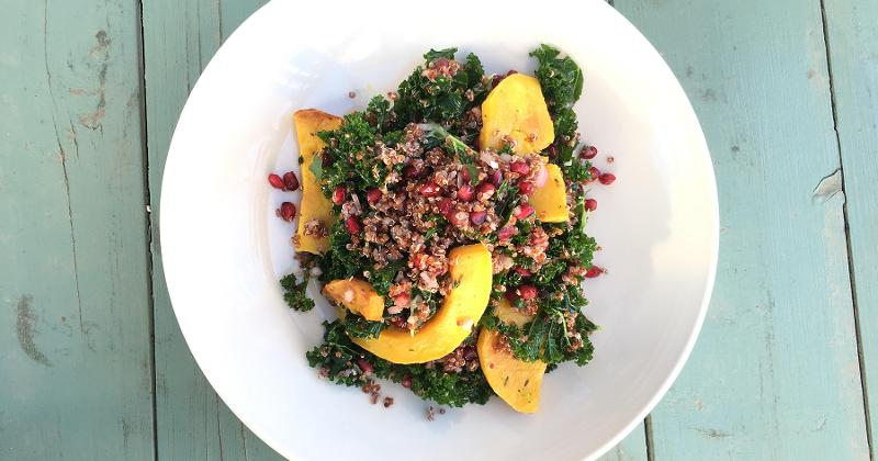 Kale, Quinoa and Butternut Squash Bowl with Pomegranate Vinaigrette